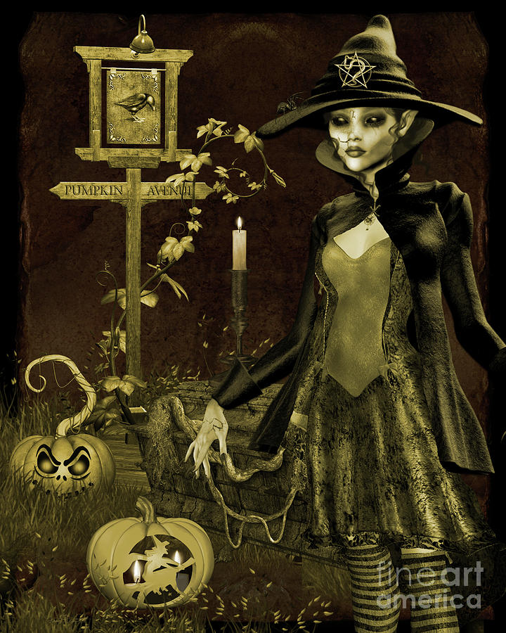 Halloween Digital Art - Halloween Graveyard-c by Jean Plout
