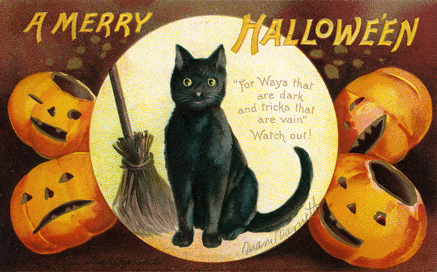 Clapsaddle Painting - Halloween Greetings With Black Cat And Carved Pumpkins by Ellen Hattie Clapsaddle
