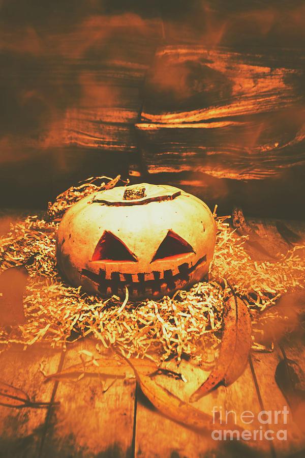 Pumpkin Photograph - Halloween In Fall. Still Life Pumpkin Head by Jorgo Photography - Wall Art Gallery