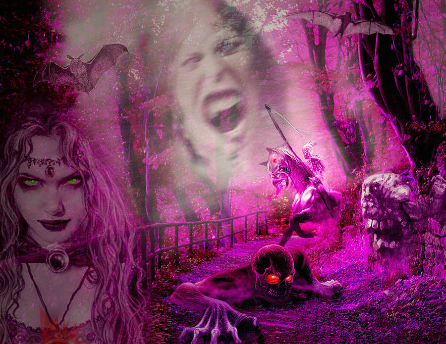 Ghouls Digital Art - Halloween Landscape by Edelberto Cabrera