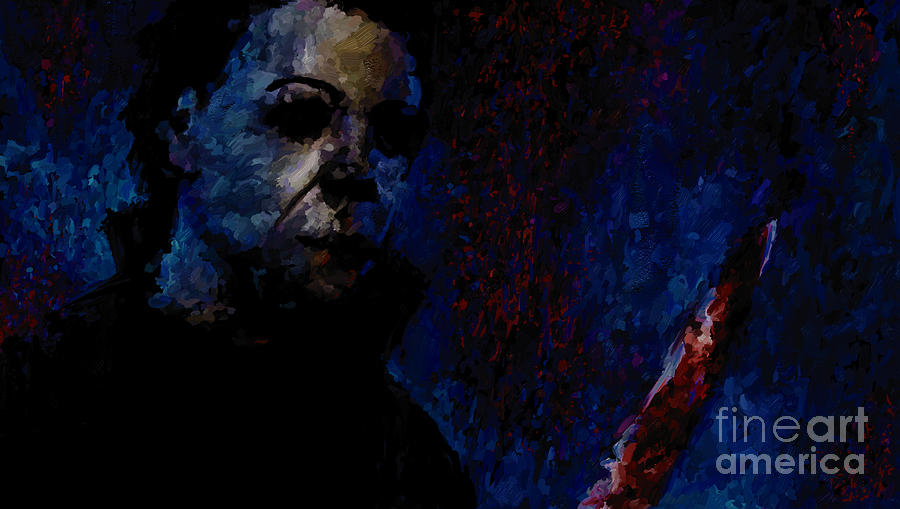 Michael Painting - Halloween Michael Myers Signed Prints Available At Laartwork.com Coupon Code Kodak by Leon Jimenez