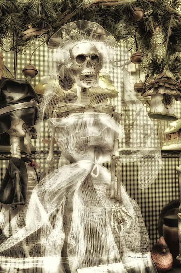 Ghost Photograph - Halloween Mrs Bones The Bride Vertical by Thomas Woolworth