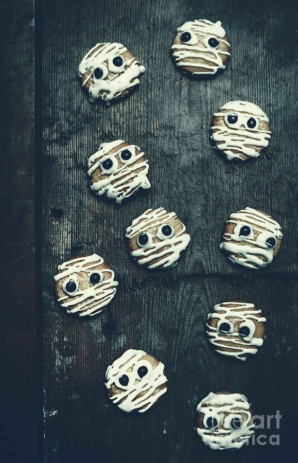 Horror Photograph - Halloween Mummy Cookies by Jorgo Photography - Wall Art Gallery