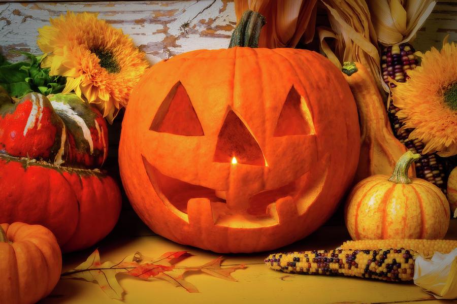 Jack-o-lantern Photograph - Halloween Pumpkin Smiling by Garry Gay