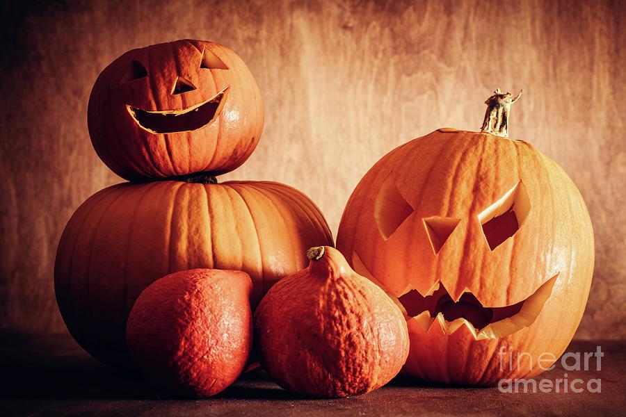 Halloween Photograph - Halloween Pumpkins, Carved Jack-o-lantern. by Michal Bednarek