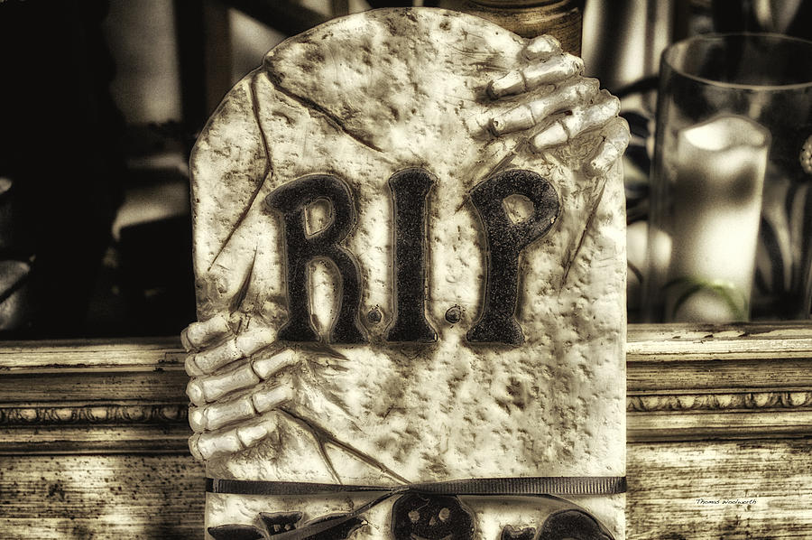 Ghost Photograph - Halloween Rip Rest In Peace Headstone by Thomas Woolworth