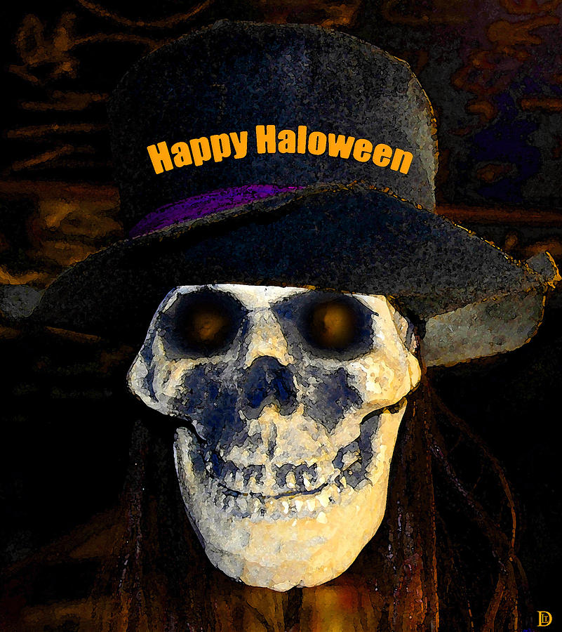 Happy Halloween Painting - Halloween Skull With Hat by David Lee Thompson