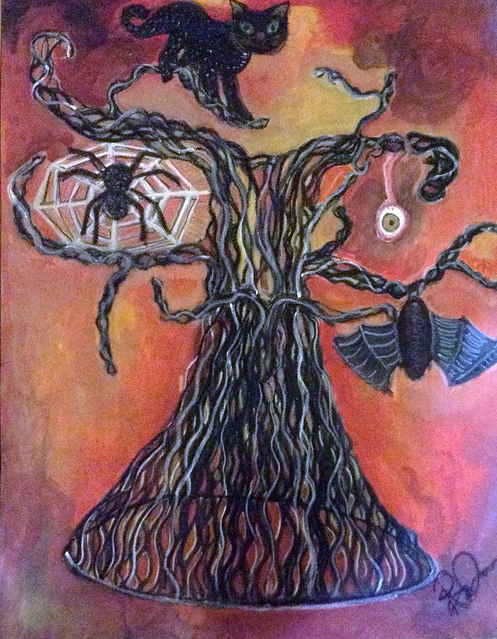Spider Drawing - Halloween Tree by Regina Jeffers