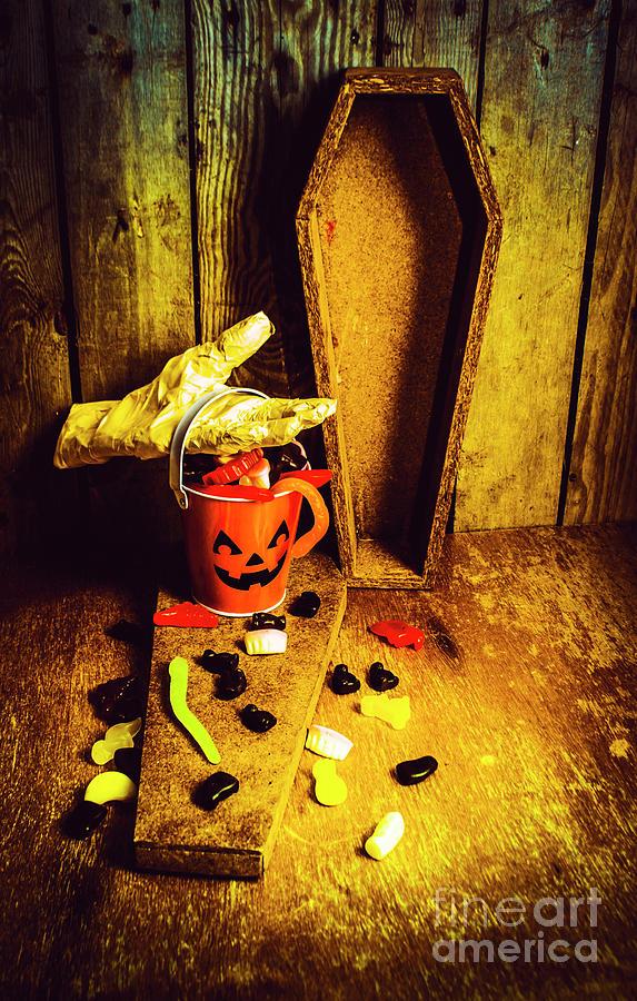 Pumpkin Photograph - Halloween Trick Of Treats Background by Jorgo Photography - Wall Art Gallery