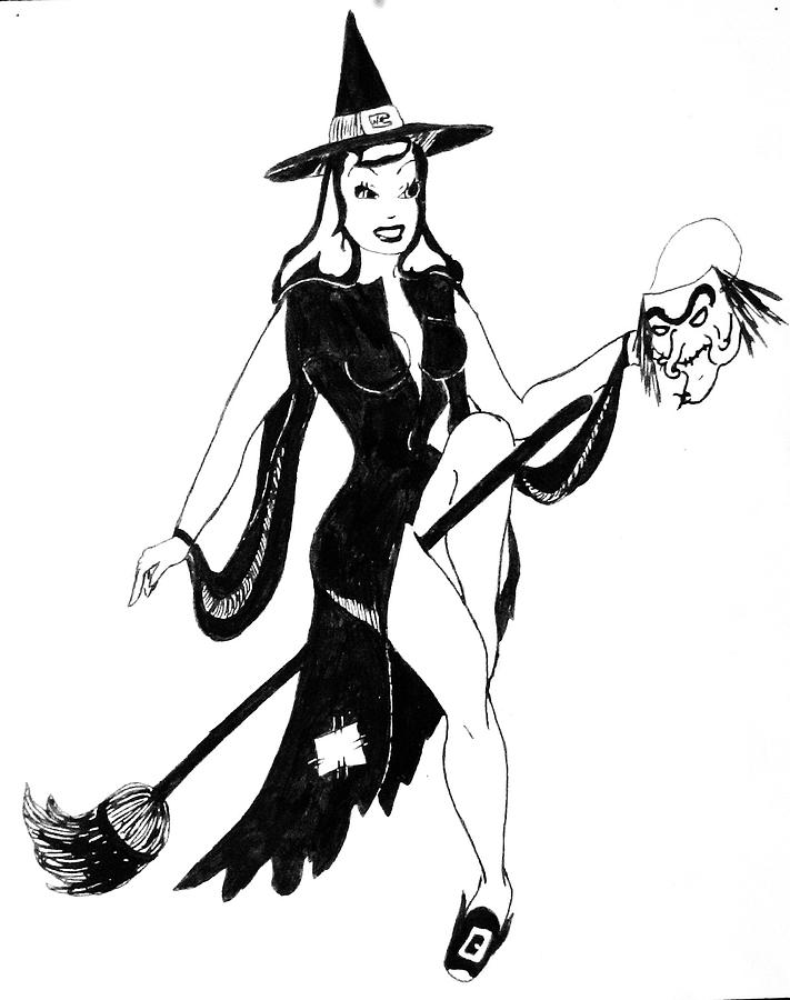 Halloween Witch Drawing By Beverly Solomon Design
