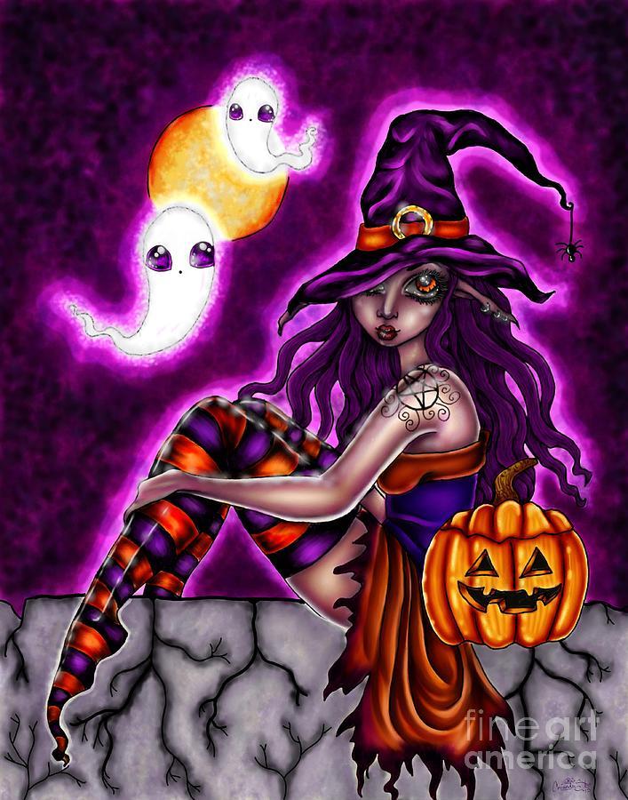 Mischief Digital Art - Halloween Witch by Coriander  Shea