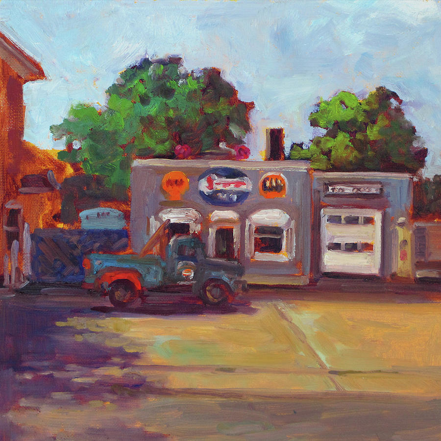 Old Garage Painting - Hals Garge by Nora Sallows