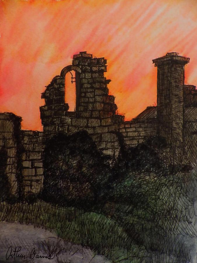 Halton Castle Ruin Painting
