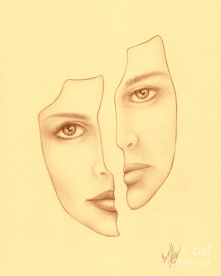 Face Drawing - Halves by Enaile D Siffert