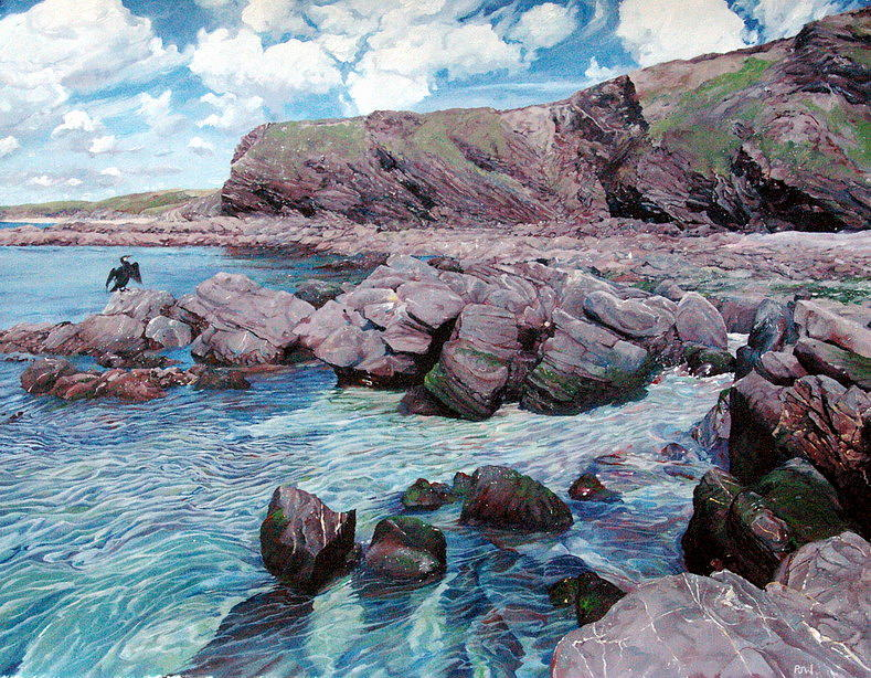 Seascape Painting - Halzephron Cliffs by Paul Williams