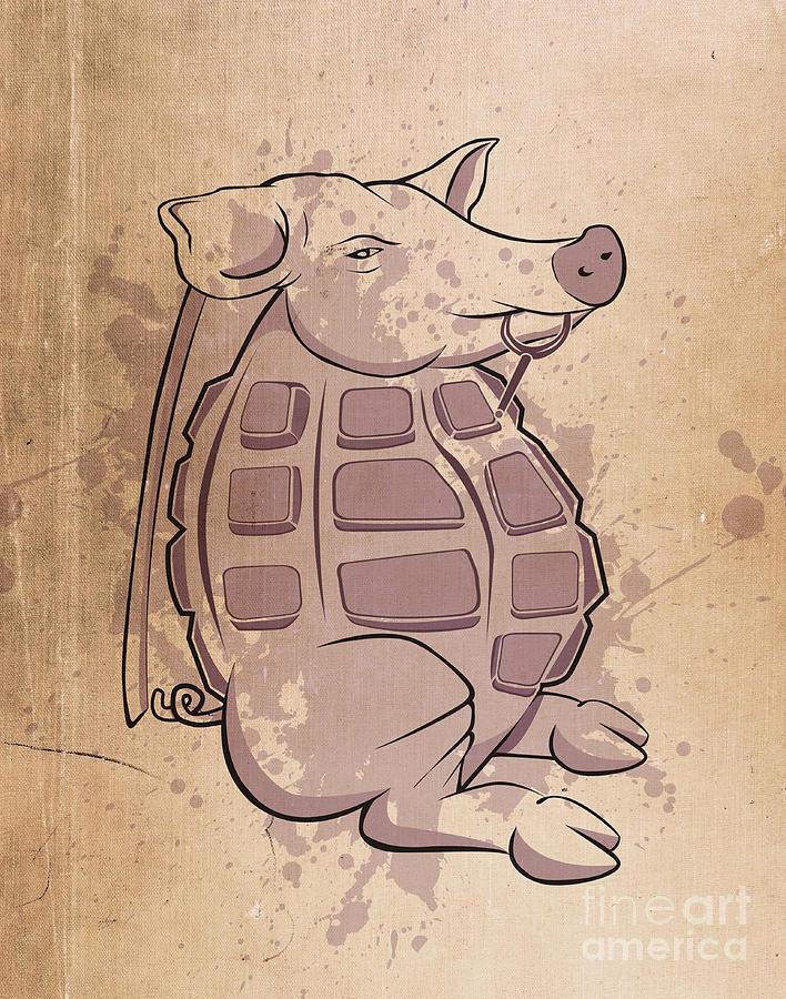 Pig Digital Art - Ham-grenade by Joe Dragt