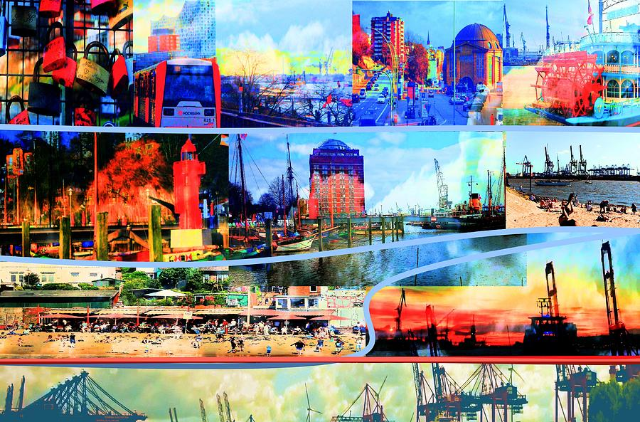 Collage Mixed Media - Hamburg Elbe by Peter Norden