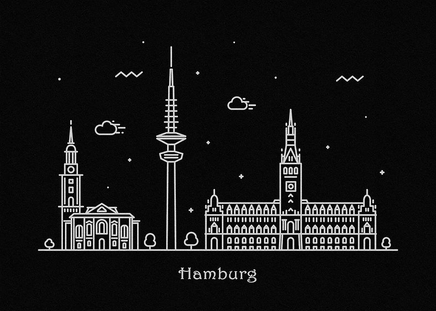 Hamburg Drawing - Hamburg Skyline Travel Poster by Inspirowl Design