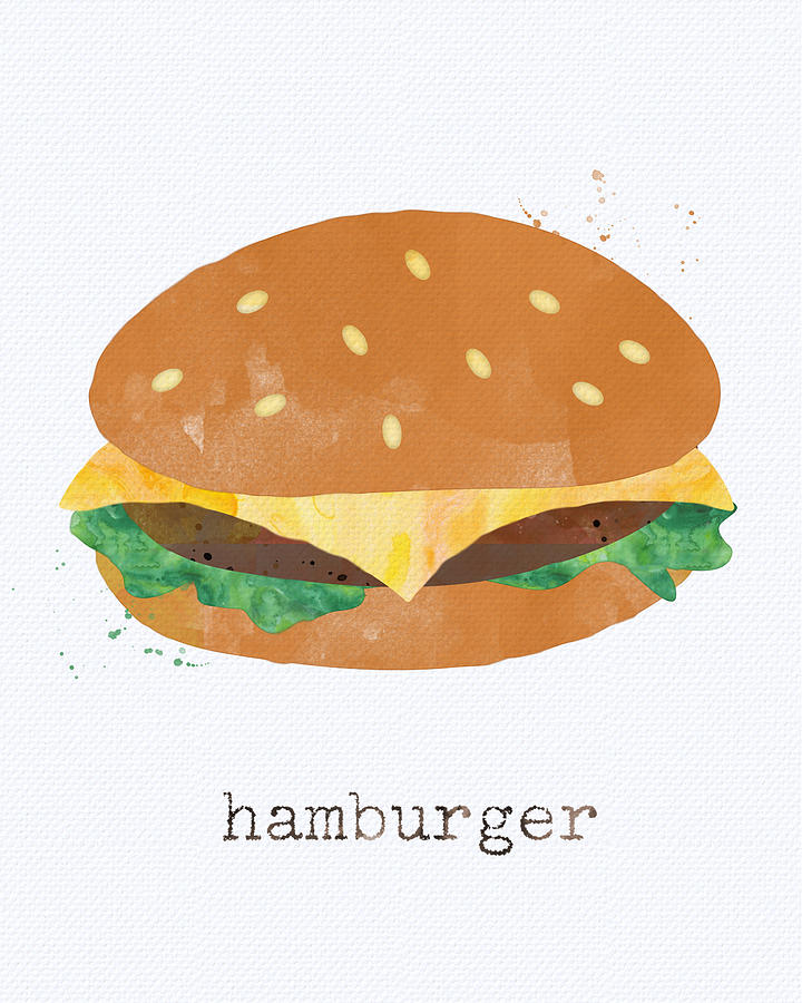 Hamburger Painting - Hamburger by Linda Woods