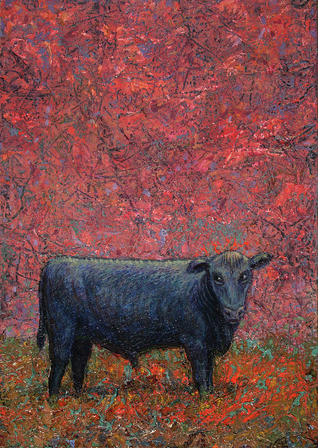Cow Painting - Hamburger Sky by James W Johnson
