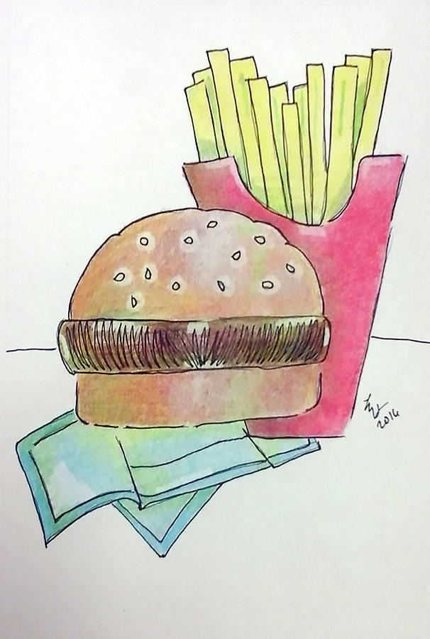 Color Pencil Drawing - Hamburger With Fries by Loretta Nash