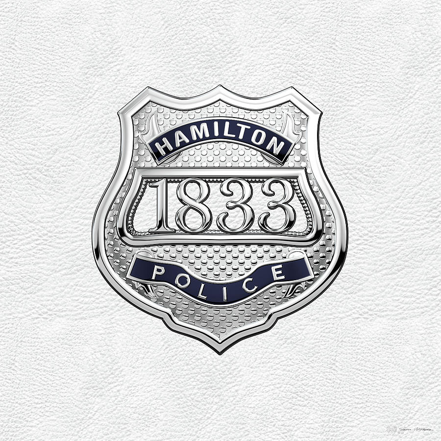 Hamilton Police Service - H P S Commemorative Officer Badge Over White  Leather