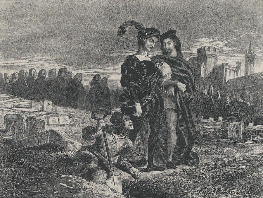 Hamlet Contemplating Yorick's Skull Relief by Eugene Delacroix