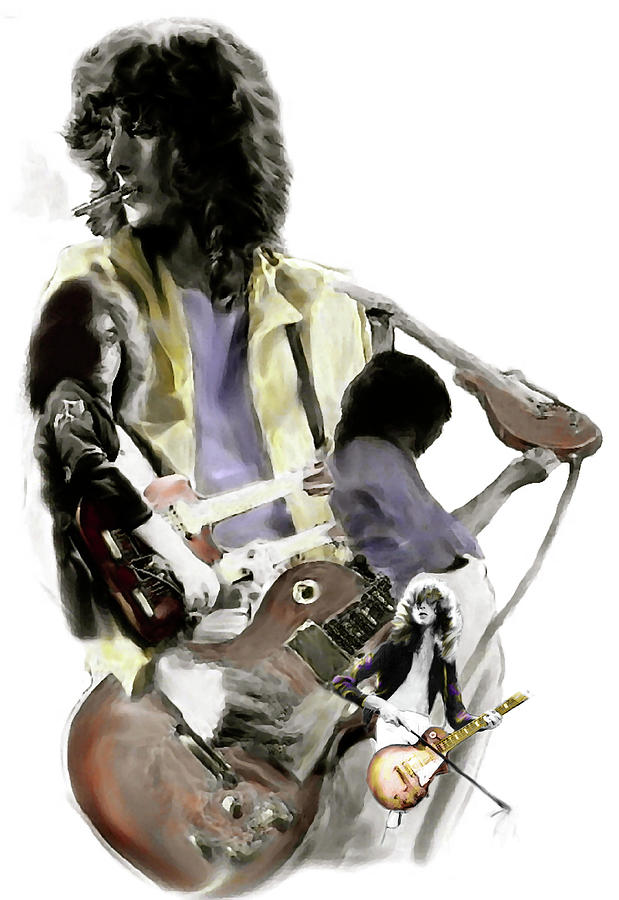 Guitarist Jimmy Page Led Zeppelin Painting - Hammer Of The Gods   Jimmy Page by Iconic Images Art Gallery David Pucciarelli