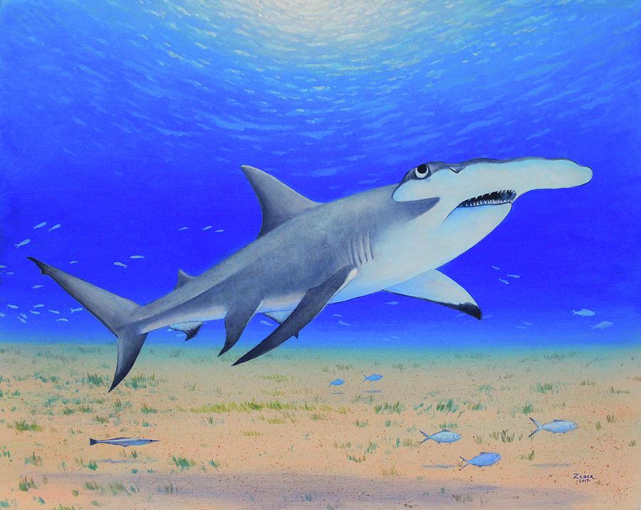 Shark Painting - Hammerhead by James Zeger