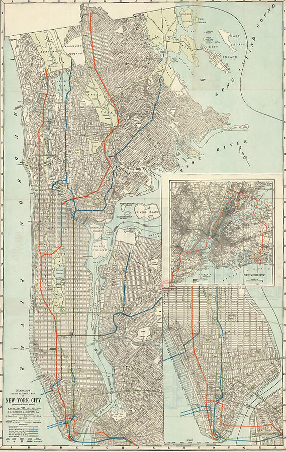 Map Of New York Bronx.Hammond S Handy Reference Map Of New York City Manhattan And The Bronx By Art Makes Happy
