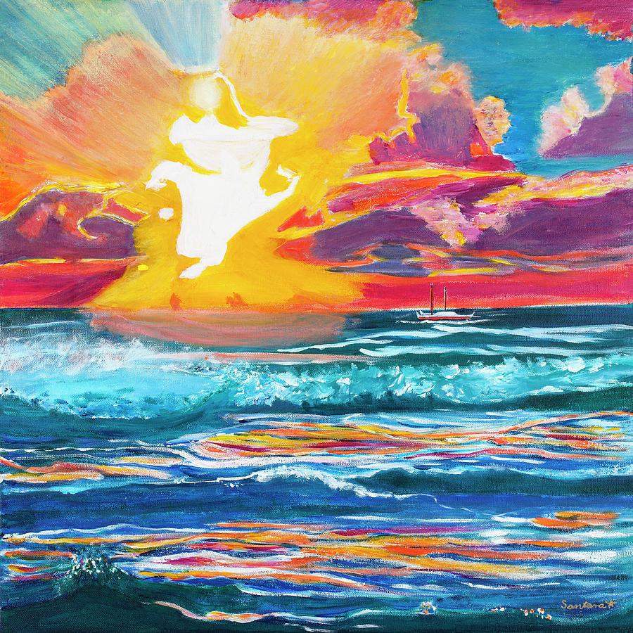 Hamoa Sunrise and Hokulea 20x20 by Santana Star