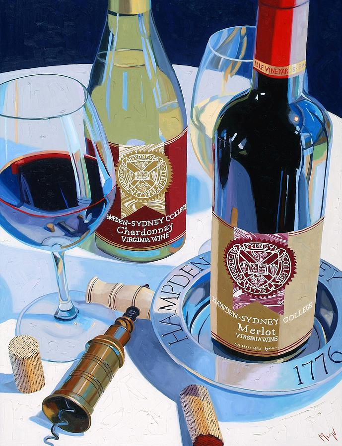 Wine Painting - Hampden Sydney Red And White Number One by Christopher Mize