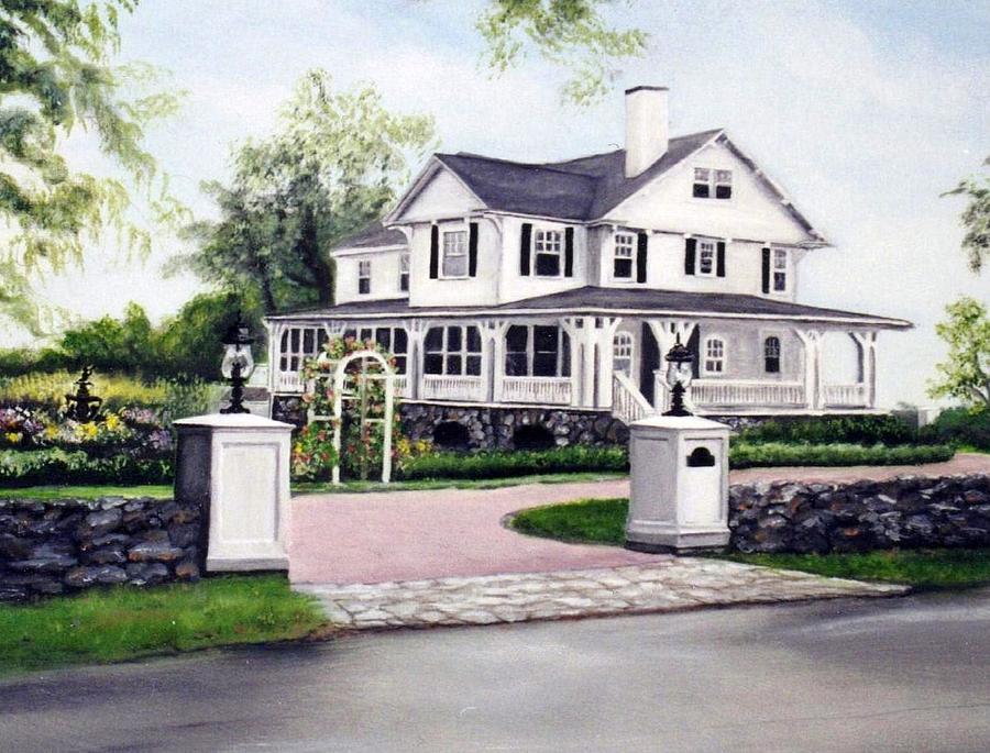 House Painting - Hampton Home Portrait by Gail Wurtz