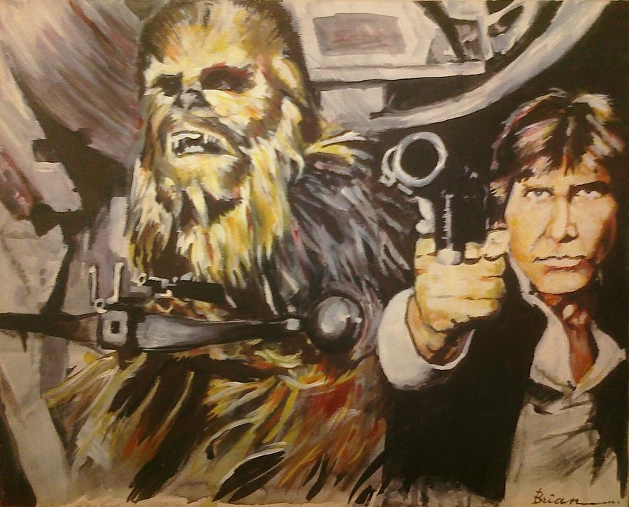 Star Wars Painting - Han And Chewie by Brian Child