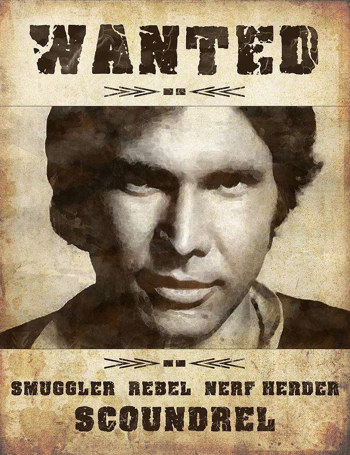 Han Solo Digital Art   Han Solo Wanted By Angela Boyko