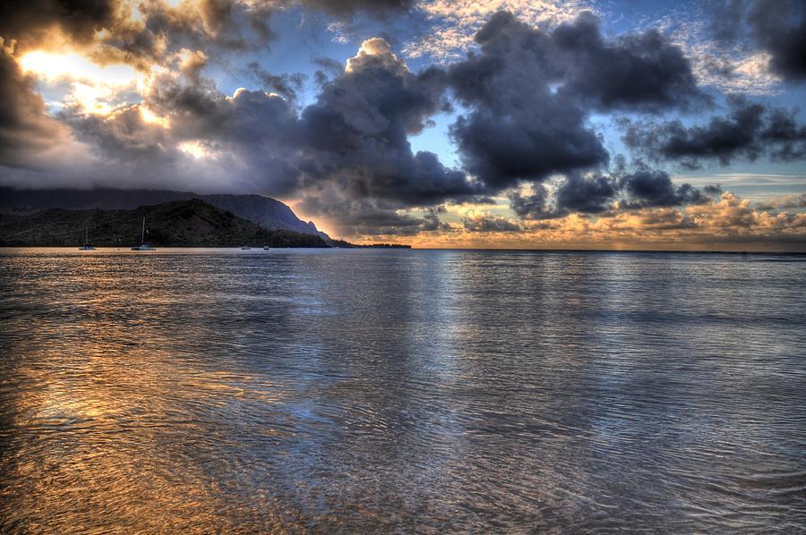 Hanalei Bay Pier Photograph - Hanalei Bay Hdr by Kelly Wade