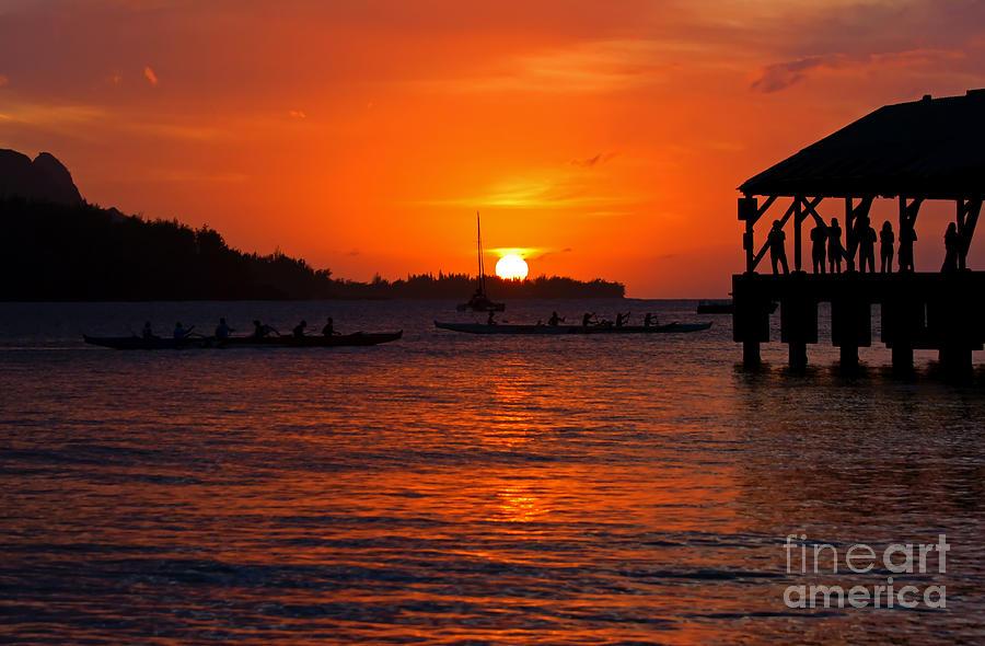 Hanalei Bay Photograph - Hanalei Sunset by Mike  Dawson
