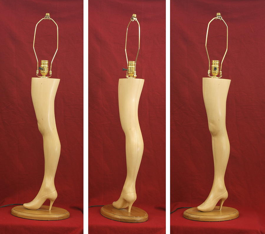 Wood Carving Sculpture - Hand Carved Wood Leg Lamp by Mike Burton