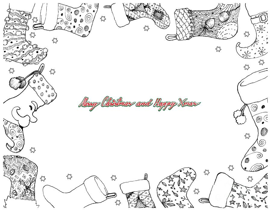 Christmas Stocking Line Drawing.Hand Drawn Of Christmas Stockings Frame On White Background