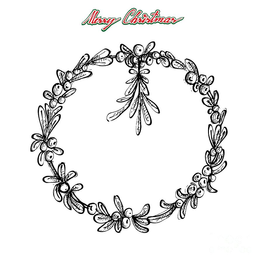 Drawings Of Christmas Wreaths.Hand Drawn Of Christmas Wreath Of Mistletoes