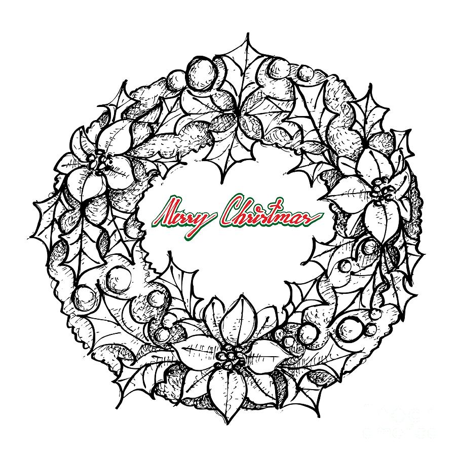 Drawings Of Christmas Wreaths.Hand Drawn Of Christmas Wreath Of Red Poinsettia Flowers