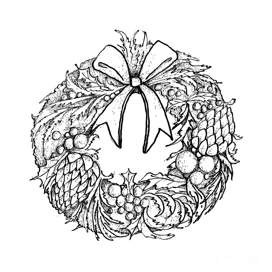 Christmas Wreath Drawing.Hand Drawn Of Christmas Wreath With Decorations