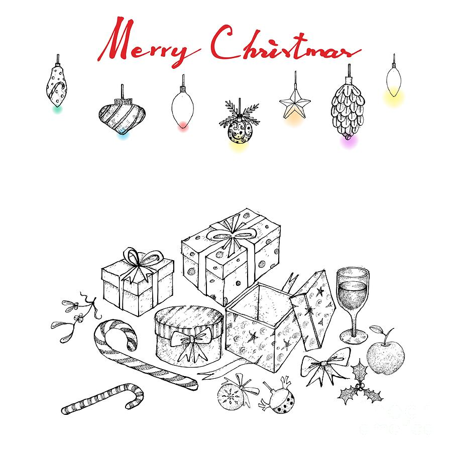 Drawings Of Christmas Ornaments.Hand Drawn Of Lovely Christmas Ornaments And Gifts