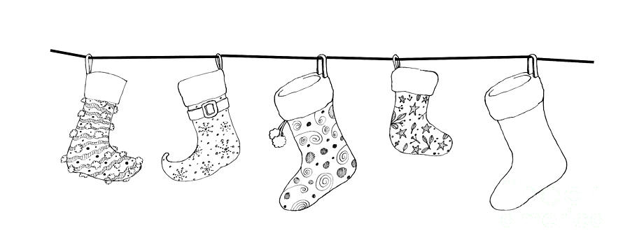 Drawings Of Christmas Stockings.Hand Drawn Of Lovely Christmas Stockings On A White Background