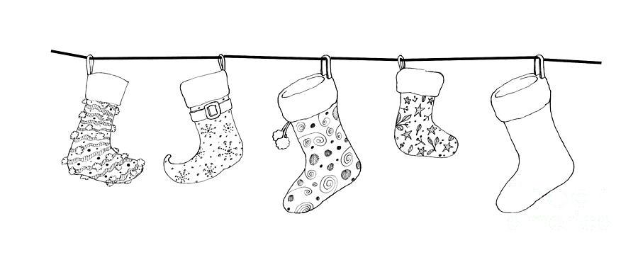 Black And White Christmas Stockings.Hand Drawn Of Lovely Christmas Stockings On A White Background