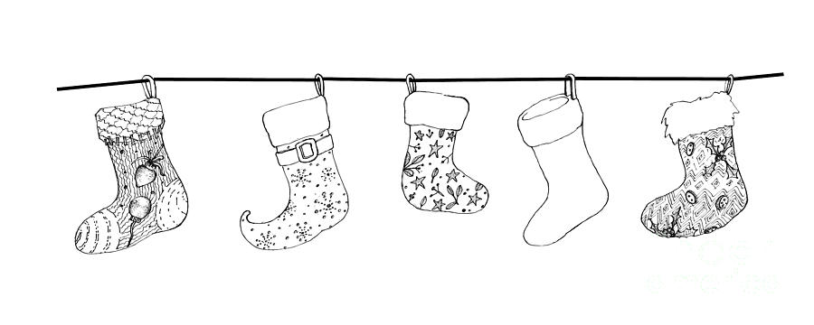 Drawings Of Christmas Stockings.Hand Drawn Of Lovely Christmas Stockings On White Background By Iam Nee