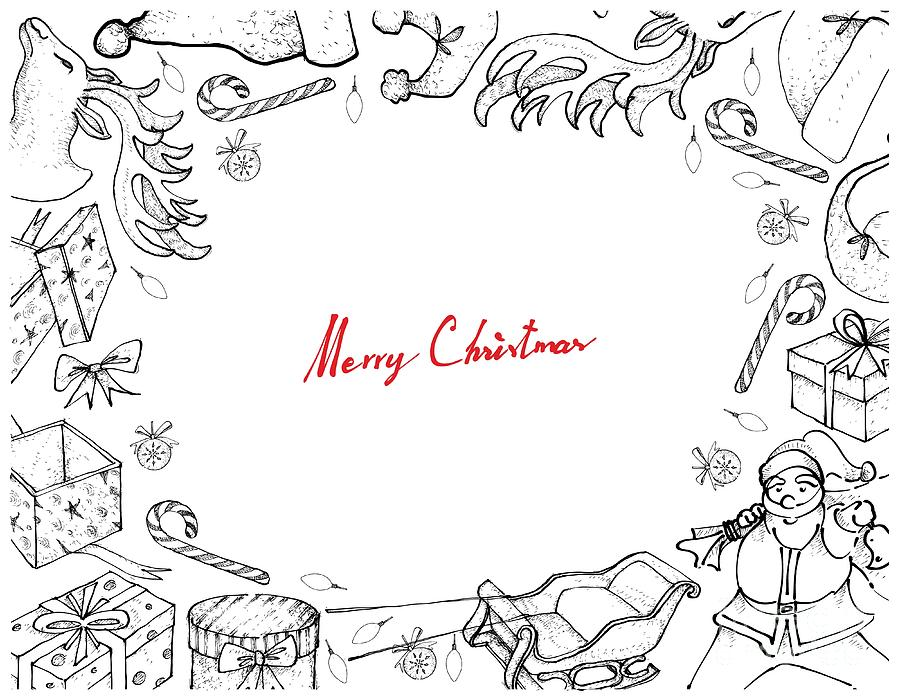 Hand Drawn Of Santa Claus With Sleigh And Gifts Frame Drawing by Iam Nee