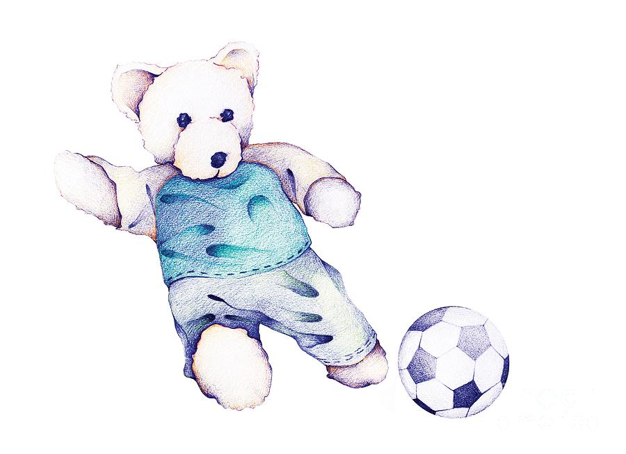 6b5c7d83 Hand Drawn Of Teddy Bear Playing Soccer Drawing by Iam Nee