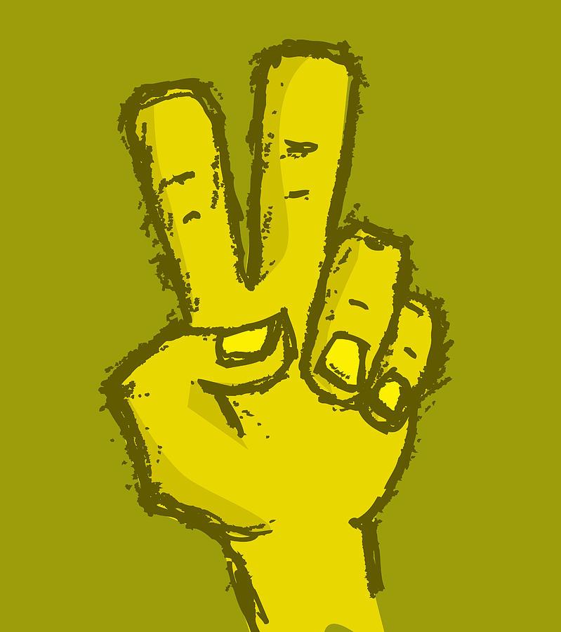 Hand Drawn Peace Hand Digital Art