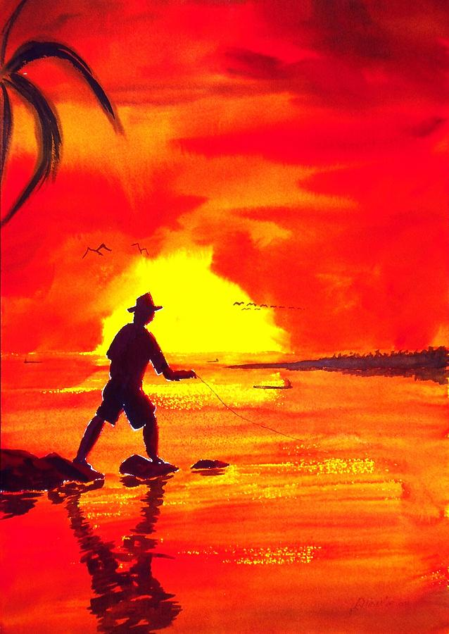 Seascape Painting - Hand Line Fisherman by Buster Dight